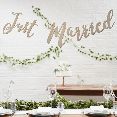 Wooden Just Married Scripted Bunting