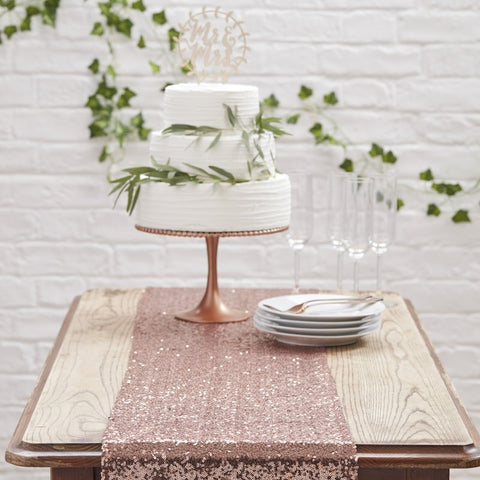 Beautiful Botanics Table Runner - Rose Gold Sequin