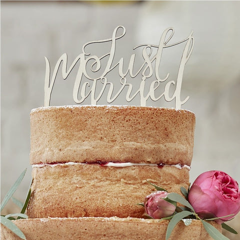 Just Married Wooden Cake Topper Boho