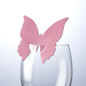 Place card on glass butterfly - Hot Pink