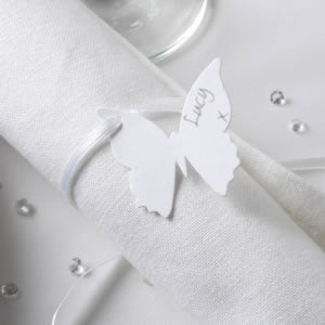 10 White Butterfly Luggage Tags Wedding Napkins Cutlery Name Place Cards