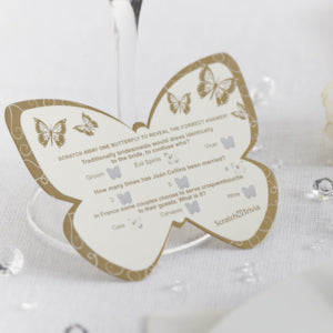 10 Gold Scratch Card Trivia Butterflies Wedding Table Game Icebreaker Favours
