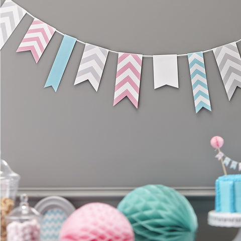 Chevron Paper Party Bunting 3.5M Wedding Pink Grey Turquoise / Mint Green