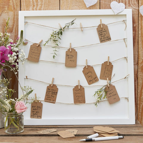 Rustic Country Guest book Pegs and String Frame