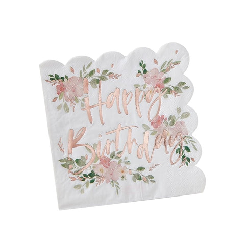 Ditsy Floral Happy Birthday Foiled Paper Napkins