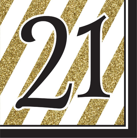 Black And Gold 21St Birthday Napkins (Set Of 16) (Set Of 16)