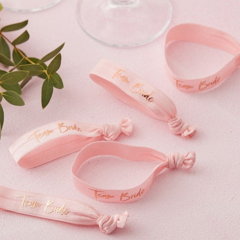 Pink Team Bride Wrist Bands - Floral Hen