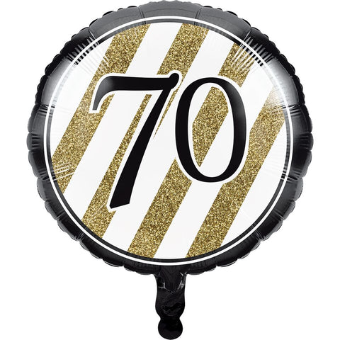 "Age 70 70Th Birthday 18"" Foil Balloon Black & Gold Stripe 70"