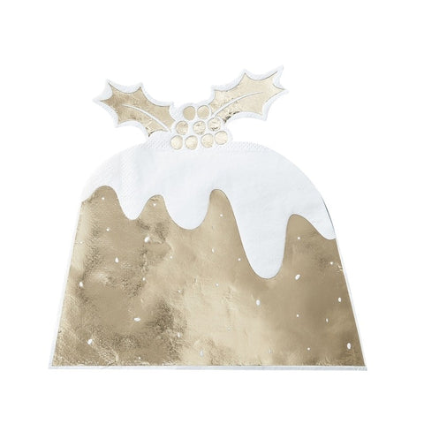 Gold Foiled Christmas Pudding Paper Napkins