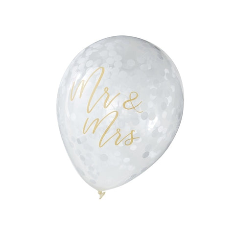 Mr & Mrs Clear and Gold Writing Balloons