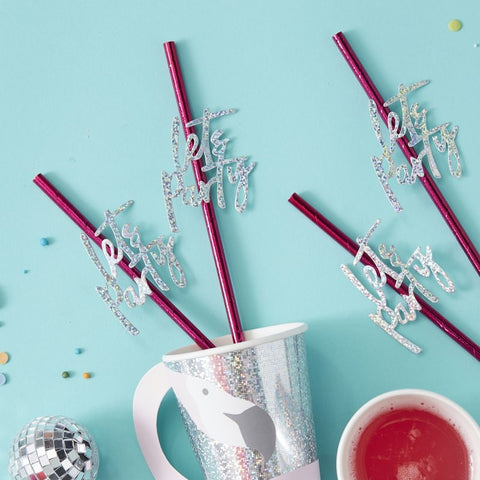 Hot Pink Foiled Lets Party Paper Straws - Good Vibes