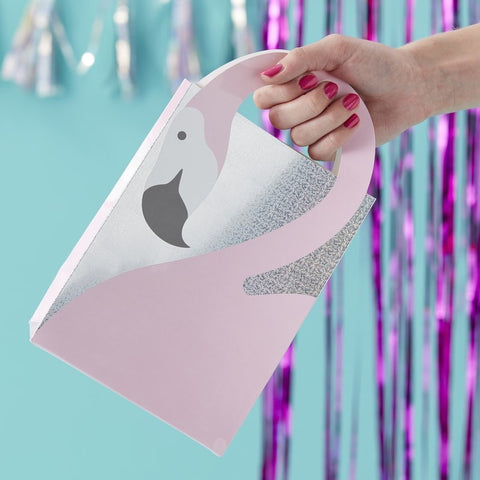 Flamingo Shaped Handle Party Bags - Good Vibes