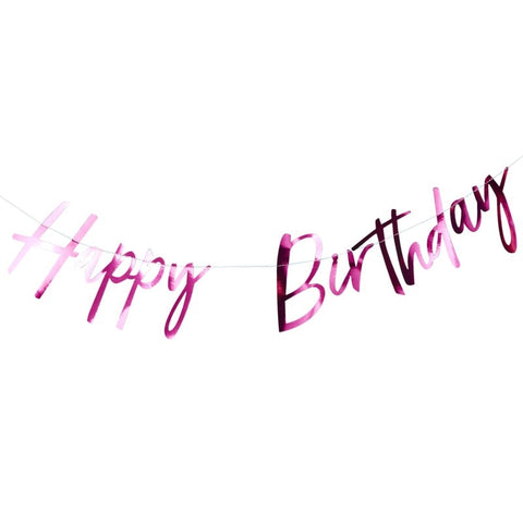 Hot Pink Foiled Happy Birthday Bunting Banner - Good Vibes