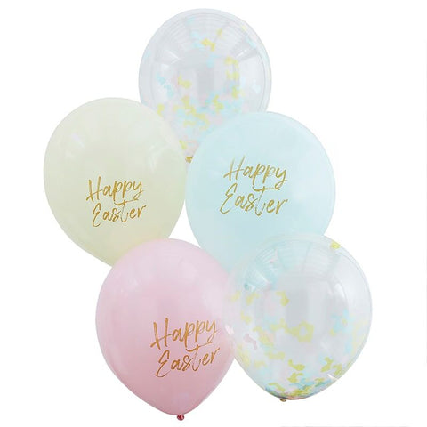 Happy Easter Confetti & Pastel Balloons