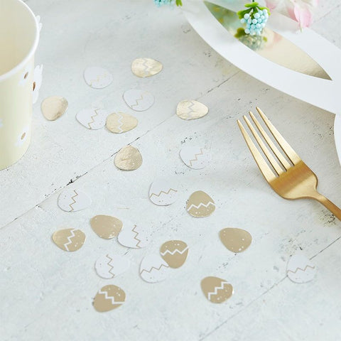 Gold & White Easter Egg Table Confetti