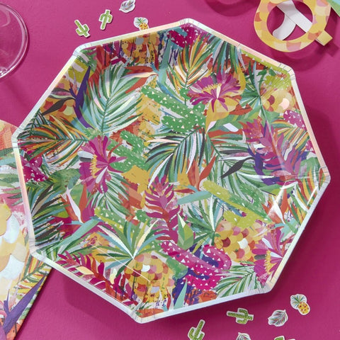 Iridescent Tropical Print Paper Plates - Hot Summer