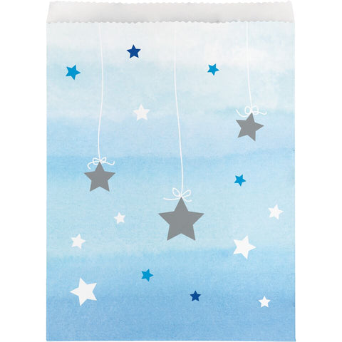 "1st Birthday Party Blue ""Twinkle Little Star"" Treat Favour Paper Bags"