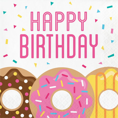 16Ct Donut Time Birthday Napkins