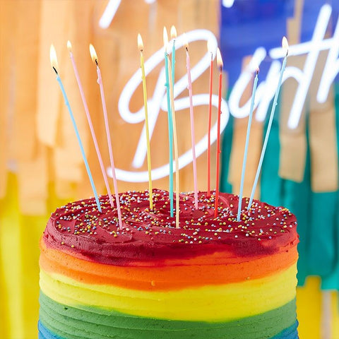 Tall Multi Coloured Birthday Cake Candles