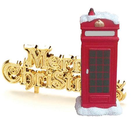 Snowy Telephone Box Cake Topper