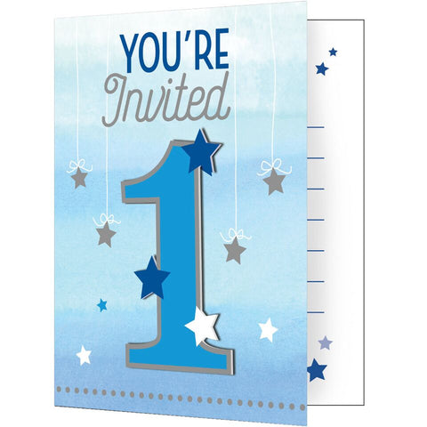 "1St (Age 1) Birthday Party Blue ""Twinkle Little Star"" Invitation Invite Cards"
