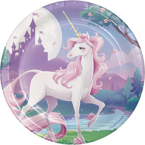 "Unicorn Fantasy 7"" Cake Plates (8 Pack) - Party Supplies"