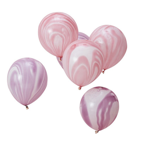 Pink and Purple Marble Latex Balloons