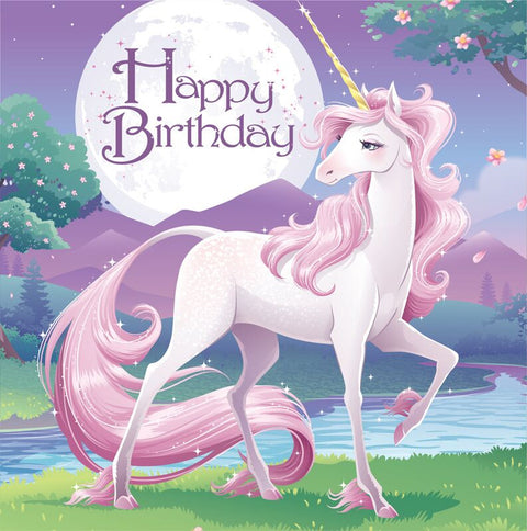 Creative 16 Count 2 Ply Happy Birthday Unicorn Lunch Napkins, Pink/Purple