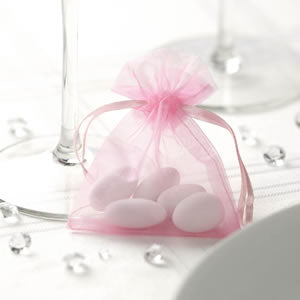 Pink Organza Favour Bags 10 X 7.5 Baby Shower Christening Gift Jewellery