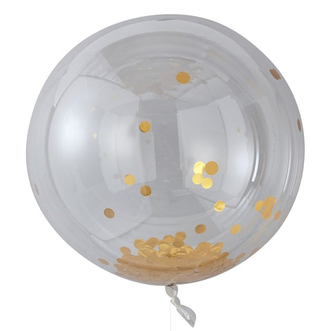 Large Gold Confetti Orb Balloon