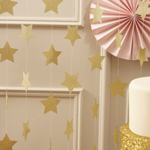 Gold Star Hanging String Decoration