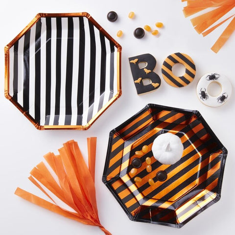 Orange Halloween Foiled Paper Plates