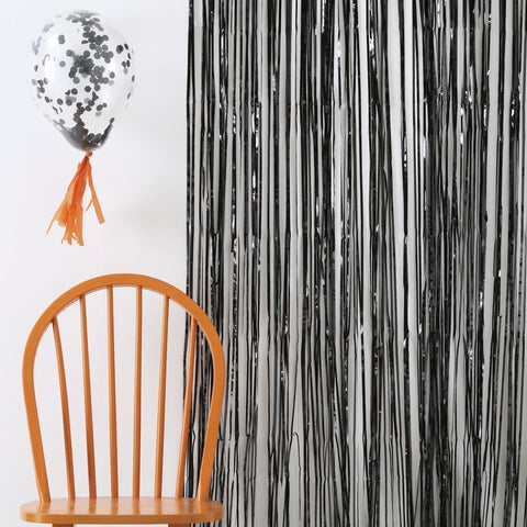 Black Fringe Curtain Decoration - Pumpkin Party