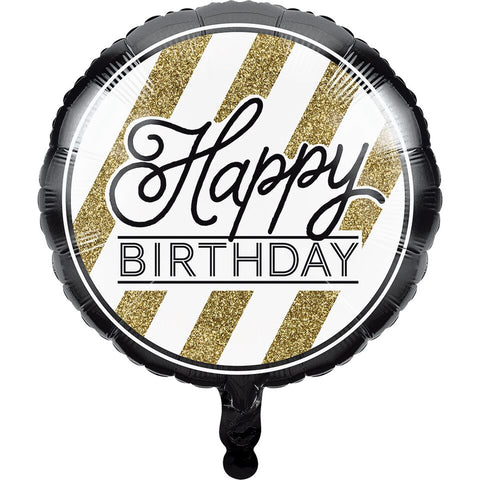 Creative Converting Black And Gold Happy Birthday Mylar Balloon