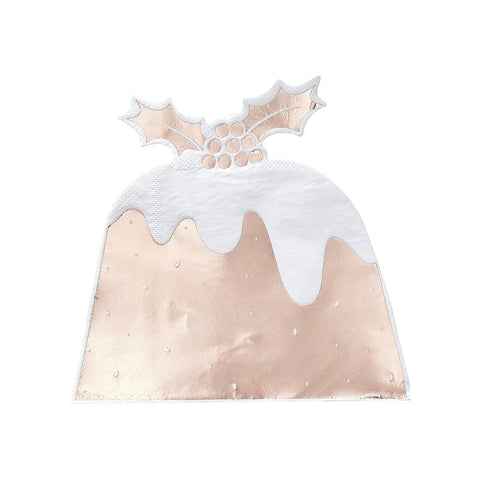 Rose Gold Foiled Christmas Pudding Paper Napkins