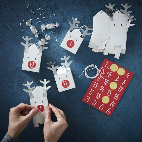 Silver Reindeer Advent Calendar Fill your own Boxes