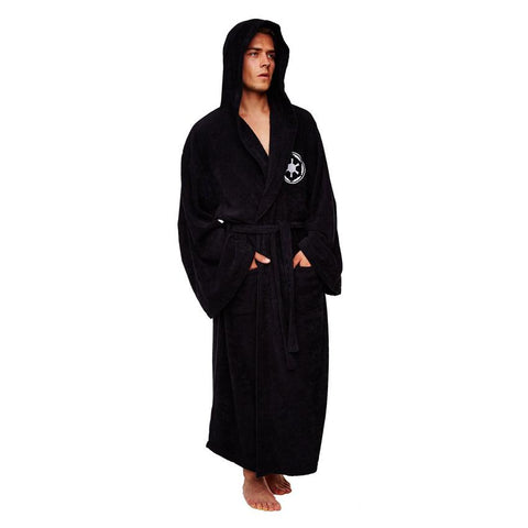 Galactic Empire Star Wars Fleece Robe Black Logo to Front With Hood Black Belt Adult One Size