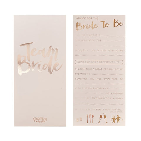 Team Bride Advice for the Bride to Be Card