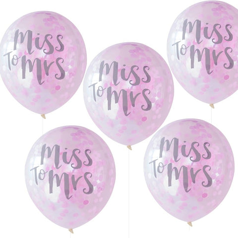 Miss to Mrs Confetti Balloons Pink