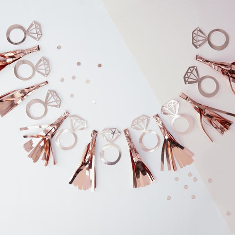 Team Bride Foiled Ring Tassel Garland Rose Gold