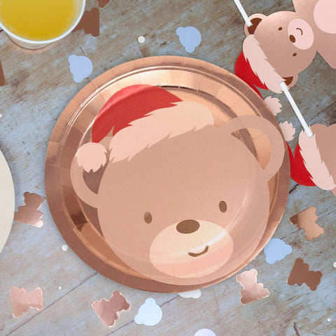 Teddy Bear Christmas Paper Plate