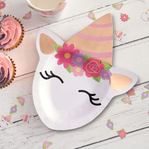 Unicorn Shaped Paper Party Plates 23cm 8 plates per pack