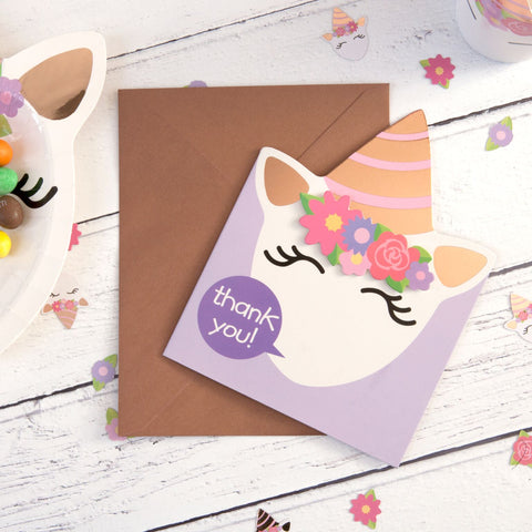 Unicorn Thank You Cards 8 cards supplied with envelopes per pack