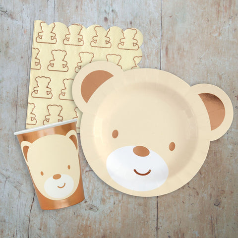 Teddy Bear Tableware Pack - Plate, Cup Napkin for 16