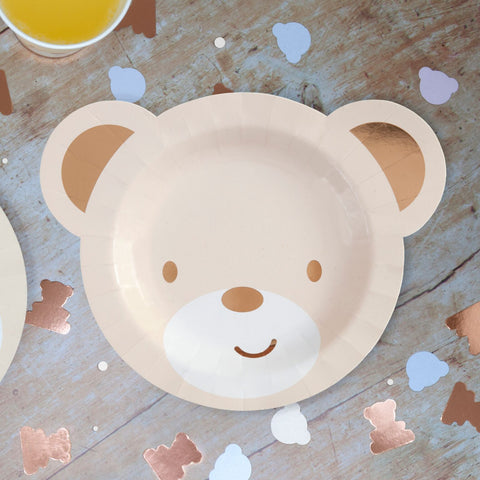 Teddy Bear Shaped Paper Party Plates 8 Plates Per Pack