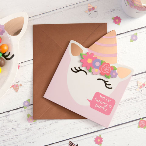 Unicorn Invitations 8 cards with envelopes per pack