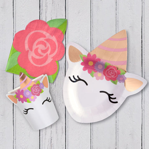 Unicorn Tableware Pack- Clate, Cup Napkin for 8