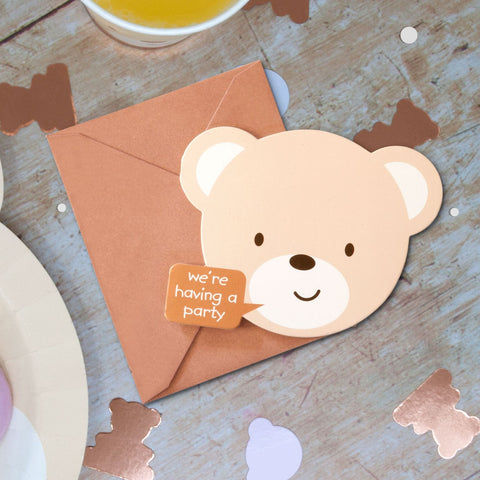 Teddy Bear Invitations 8 Cards with Envelopes Per Pack