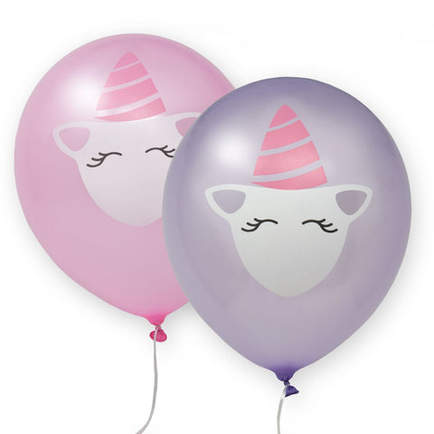 Unicorn printed latex balloons 8 balloons per pack