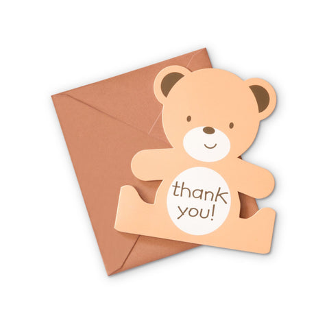 Teddy Bear Shaped Thank You Cards 8 cards with Envelopes Per Pack